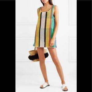 DVF Striped Crochet-Knit Cotton Mini Dress